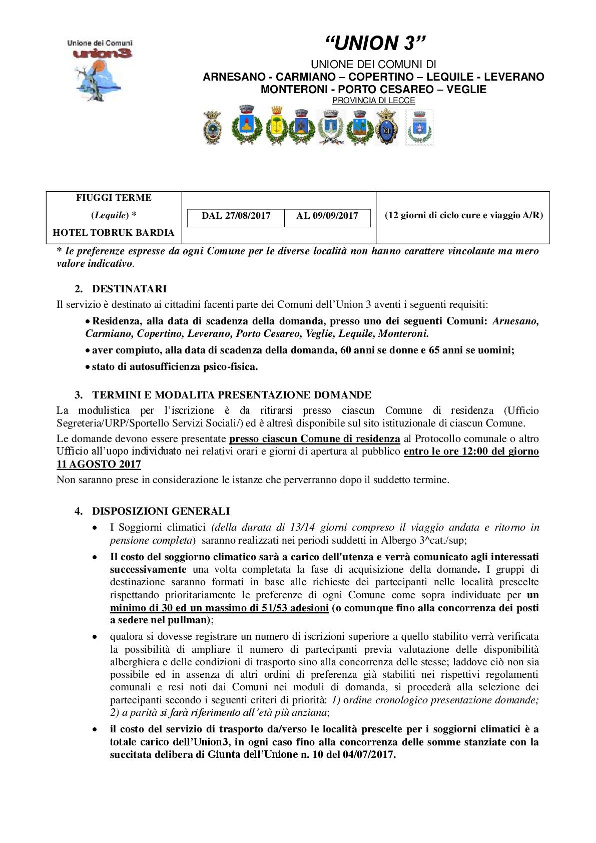 Controvoci 2.0 - COMUNE DI VEGLIE E UNION 3: SOGGIORNI CLIMATICI E ...